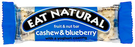 Product image of Cashew & Blueberry with a Yoghurt Coating Fruit & Nut Bar by Eat Natural