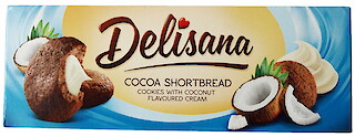 Product image of Cocoa Shortbread Cookies with coconut flavoured cream by Delisana