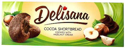 Product image of Cocoa Shortbread Cookies with hazelnut cream by Delisana