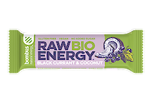 Product image of Raw Bio blackcurrant & coconut bar made with organic ingredients by Bombus