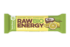 Product image of Raw Bio lemon & coconut bar made with organic ingredients by Bombus